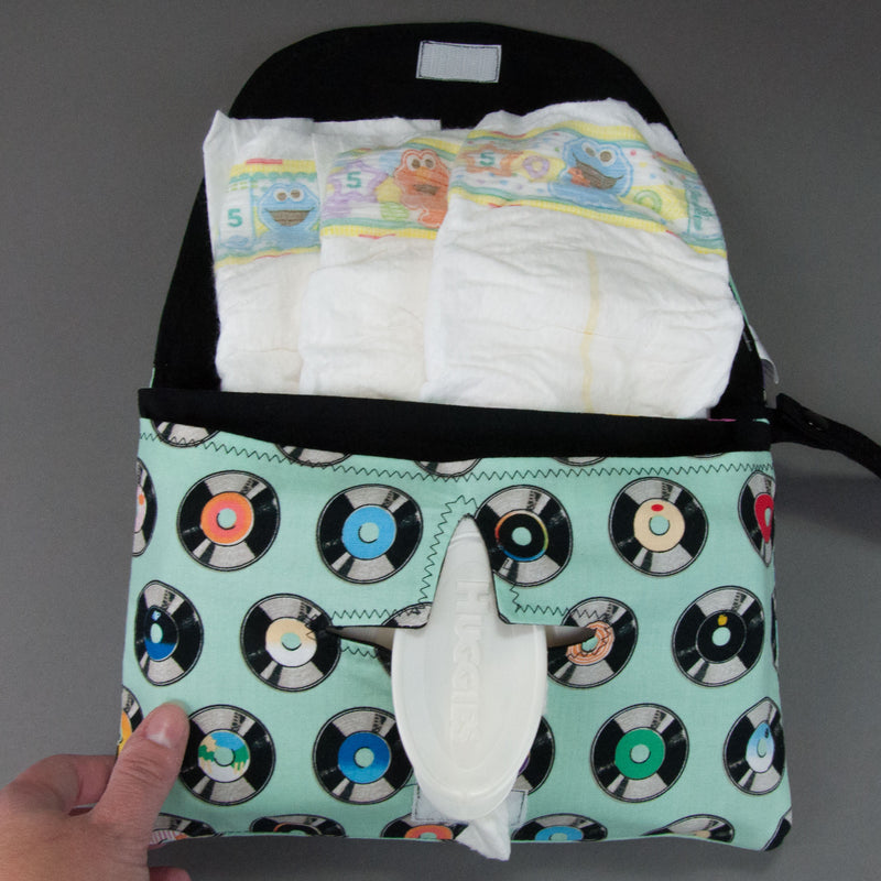 Aqua Vintage Records Diaper + Wipe Clutch