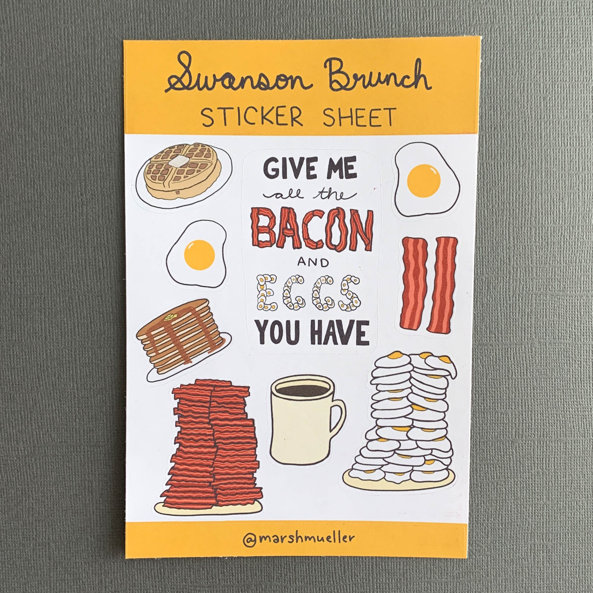 "sticker sheet of bacon, eggs, breakfast food with ""Swanson Brunch"" hand lettering"