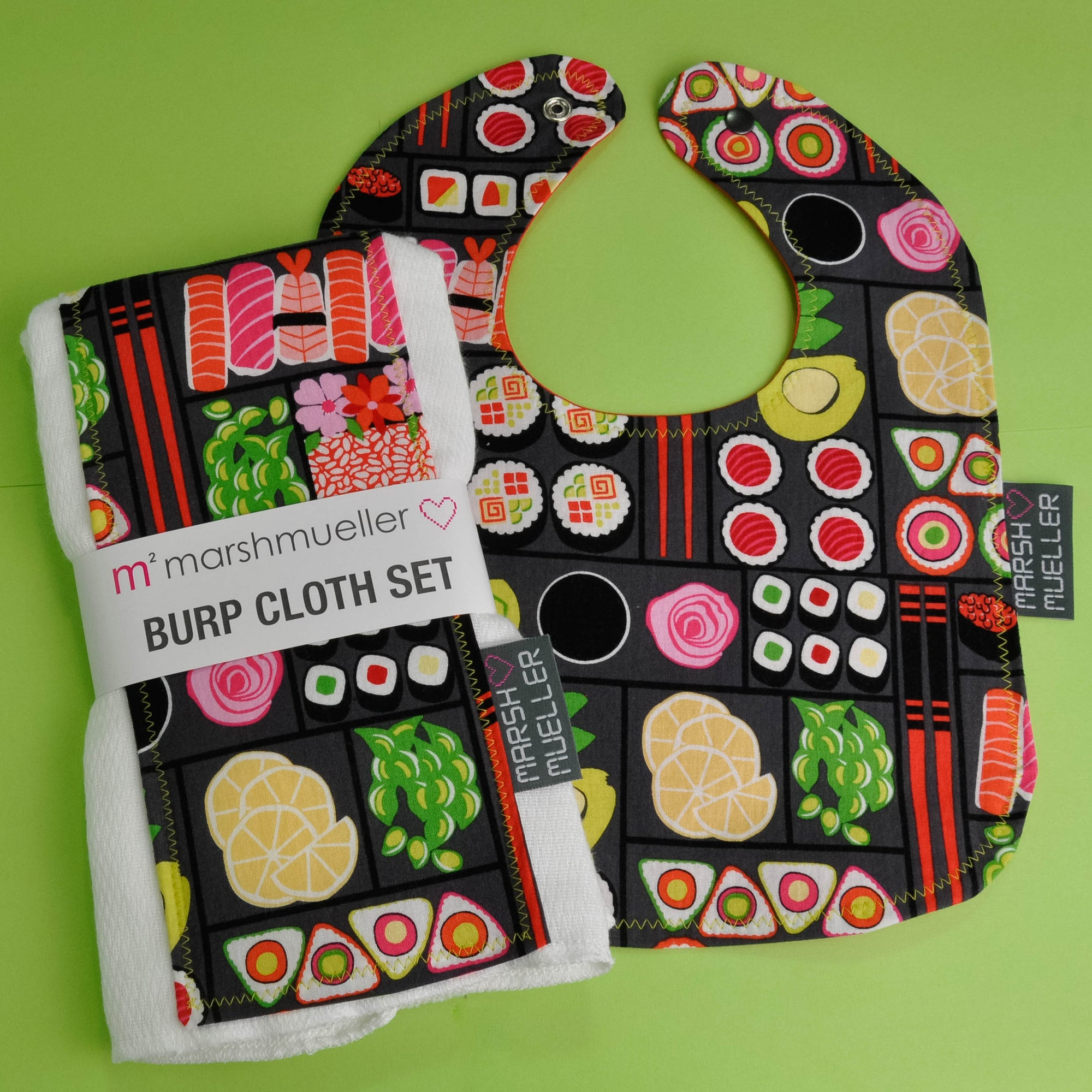Bento Box Bib and Burp Cloth Bundle