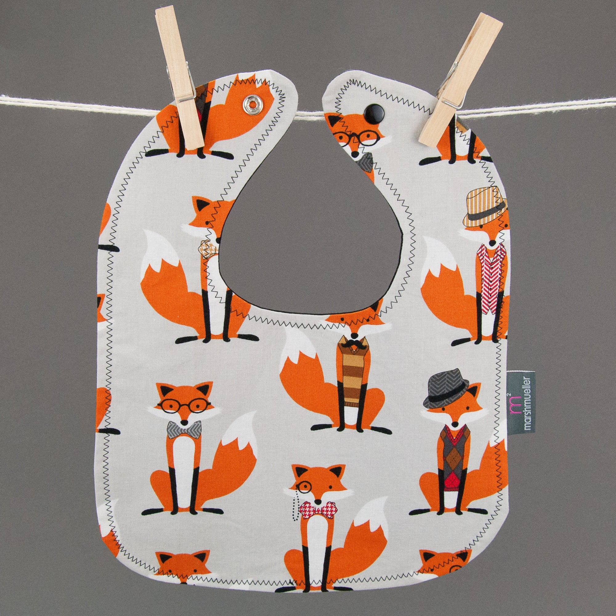 Grey Dapper Foxes Bib