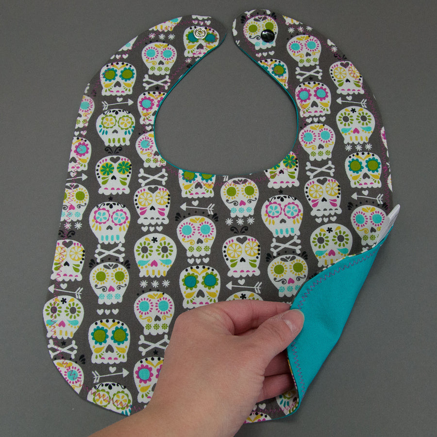 Sugar Skulls Grey Bib