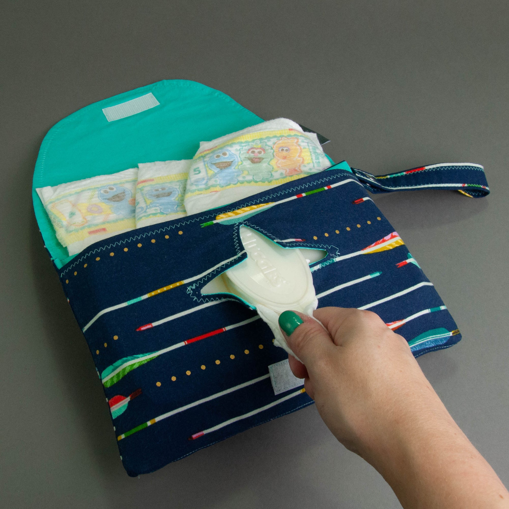 Blue Metallic Arrows Diaper + Wipe Clutch