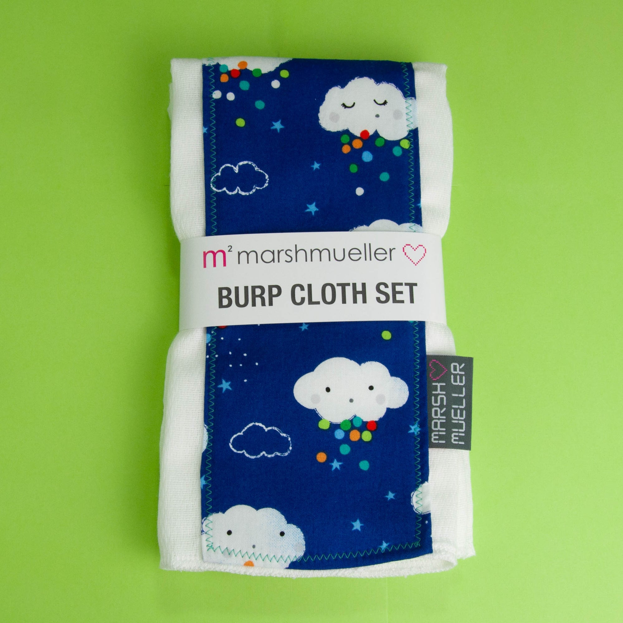 Blue Rain Clouds Burp Cloth Set