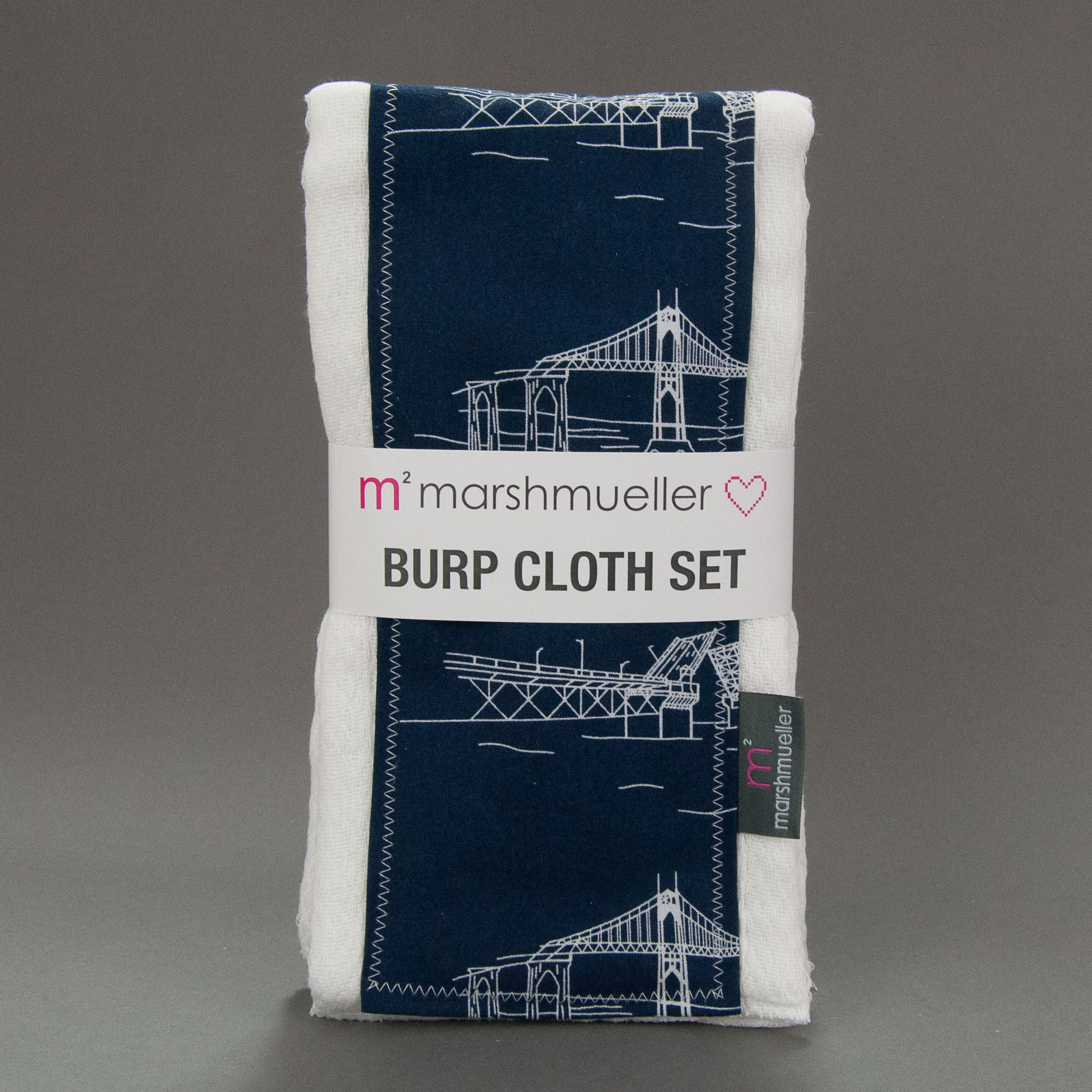 Navy Bridgetown Burp Cloth Set