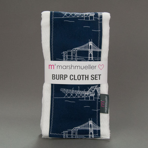 Navy Bridgetown Burp Cloth Set by MarshMueller