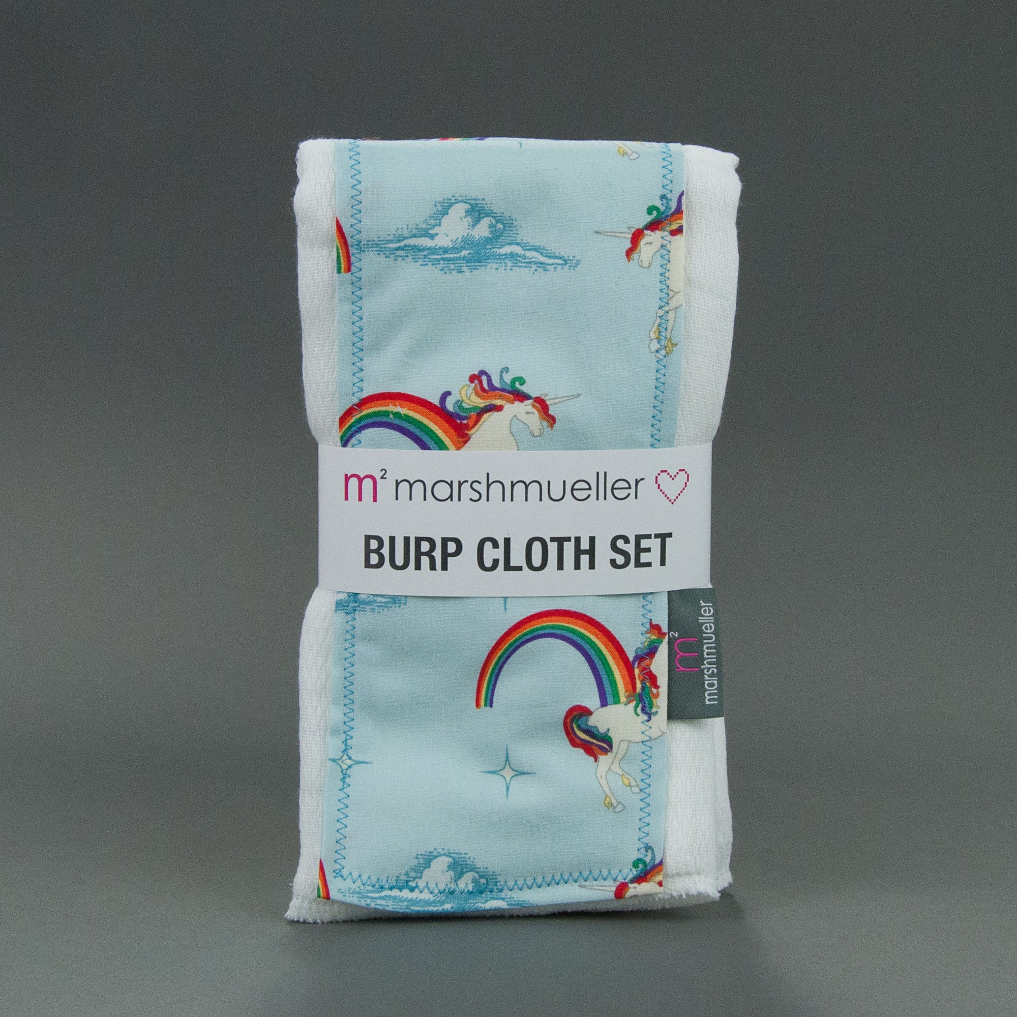 Unicorns + Rainbows Burp Cloth Set