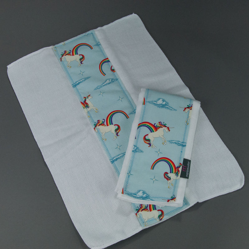 Pale Blue Unicorns + Rainbows Burp Cloth Set