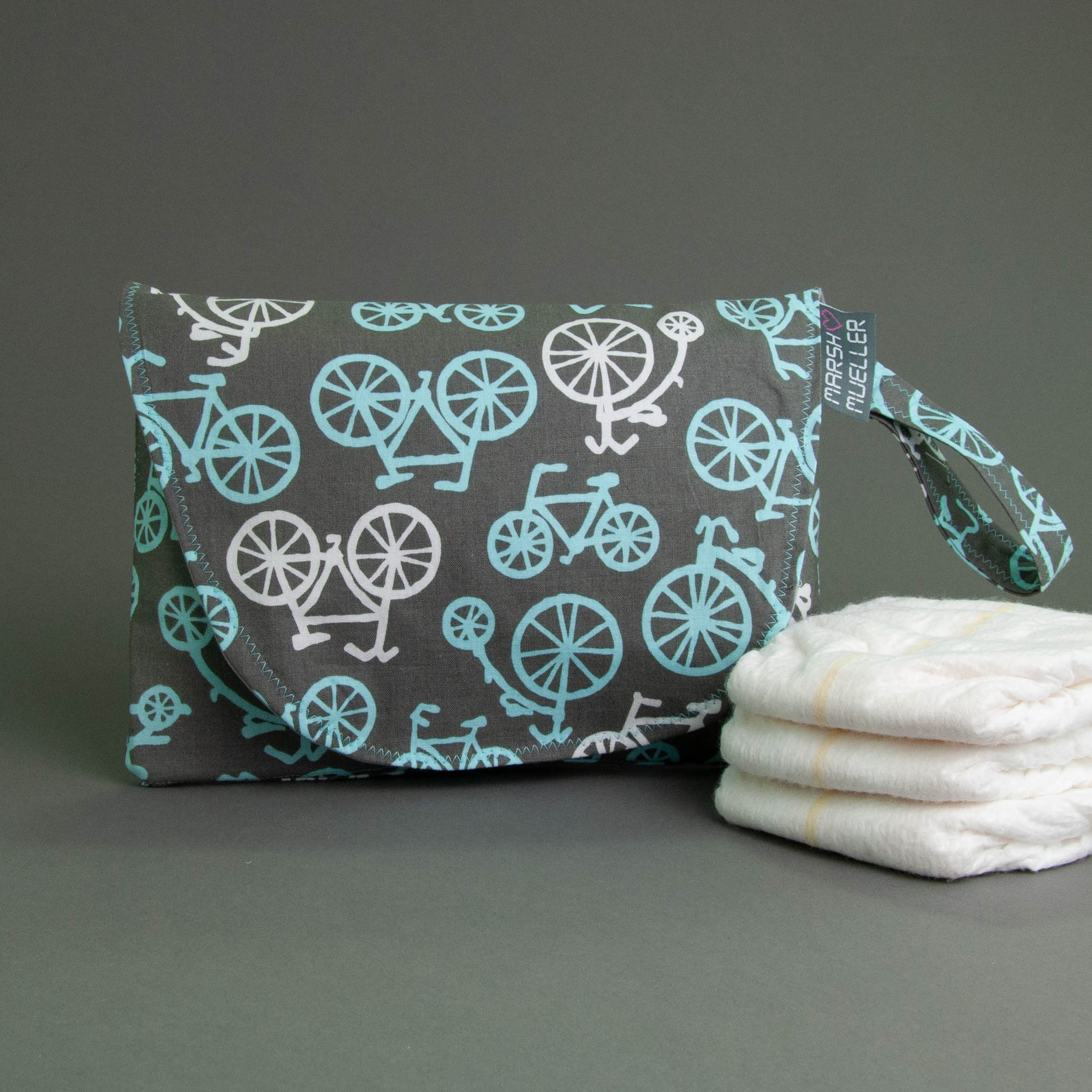 Blue Bicycles Diaper + Wipe Clutch