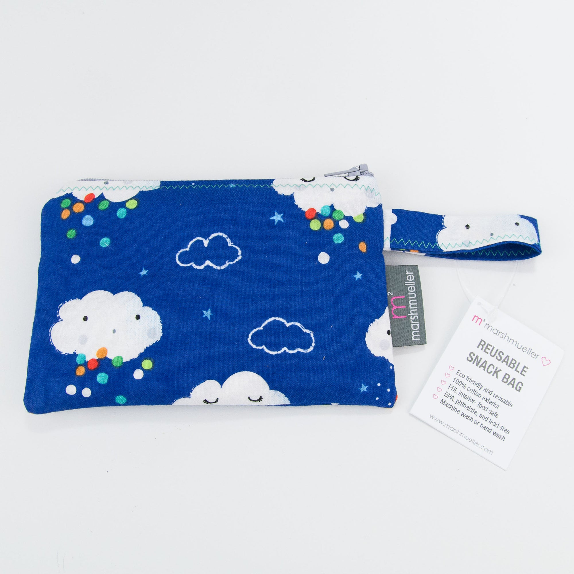 Blue Rain Clouds Reusable Snack Bag, Reusable Snack Bag, - MarshMueller