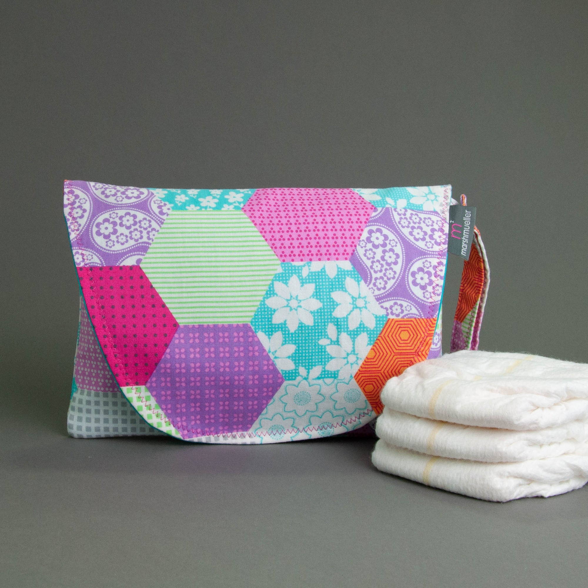Cute Patchwork Diaper + Wipe Clutch