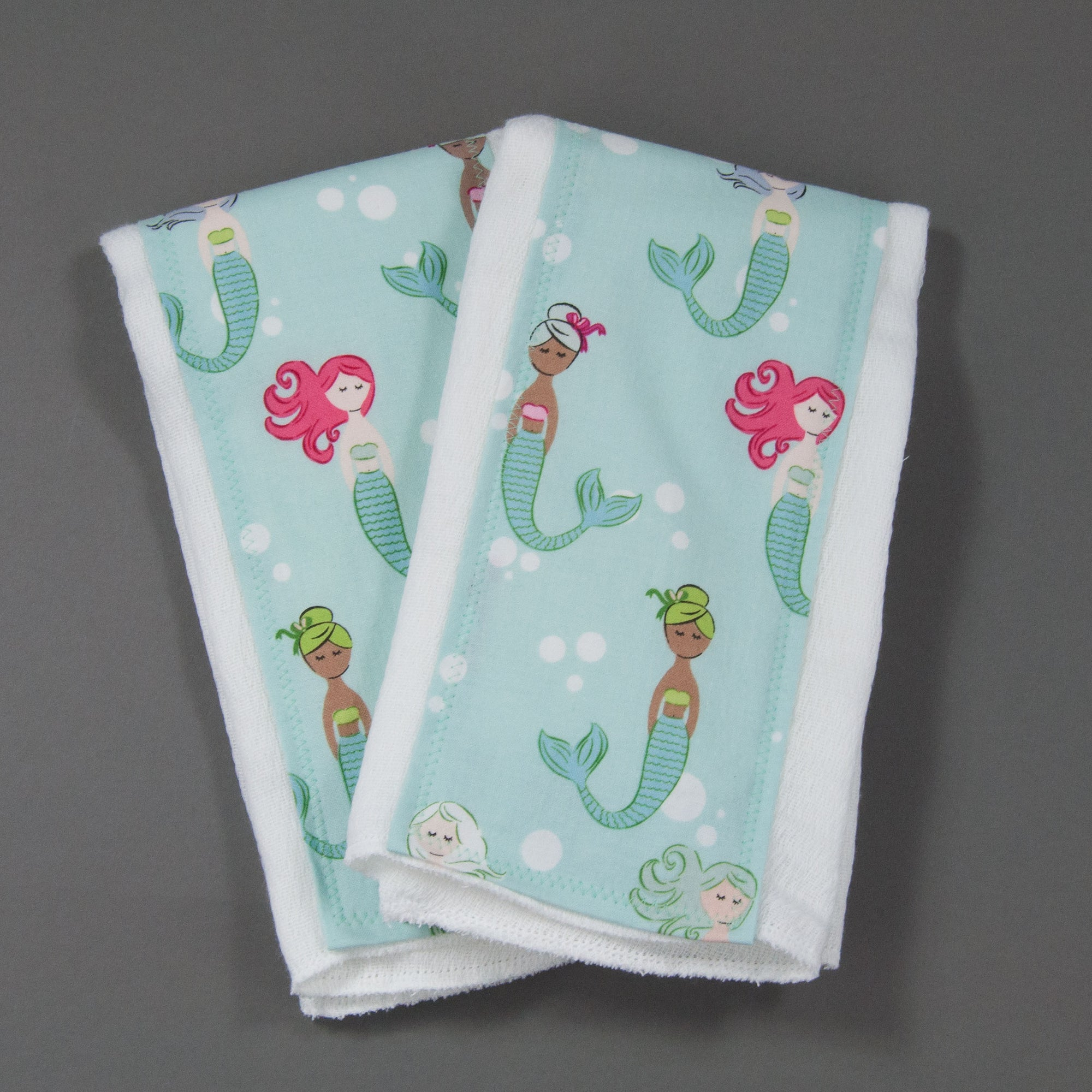 Colorful Mermaids Burp Cloth Set, Burp Cloth Set, - MarshMueller