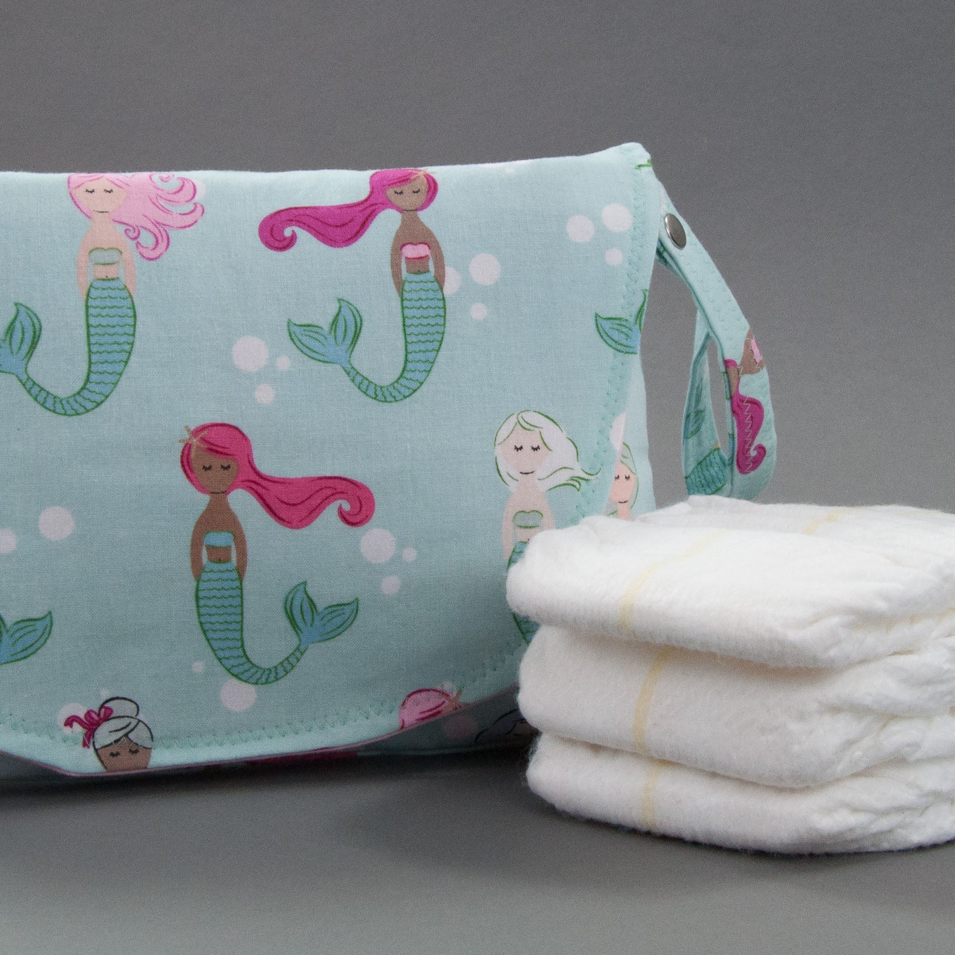 Colorful Mermaids Diaper + Wipe Clutch, Diaper + Wipe Clutch, - MarshMueller