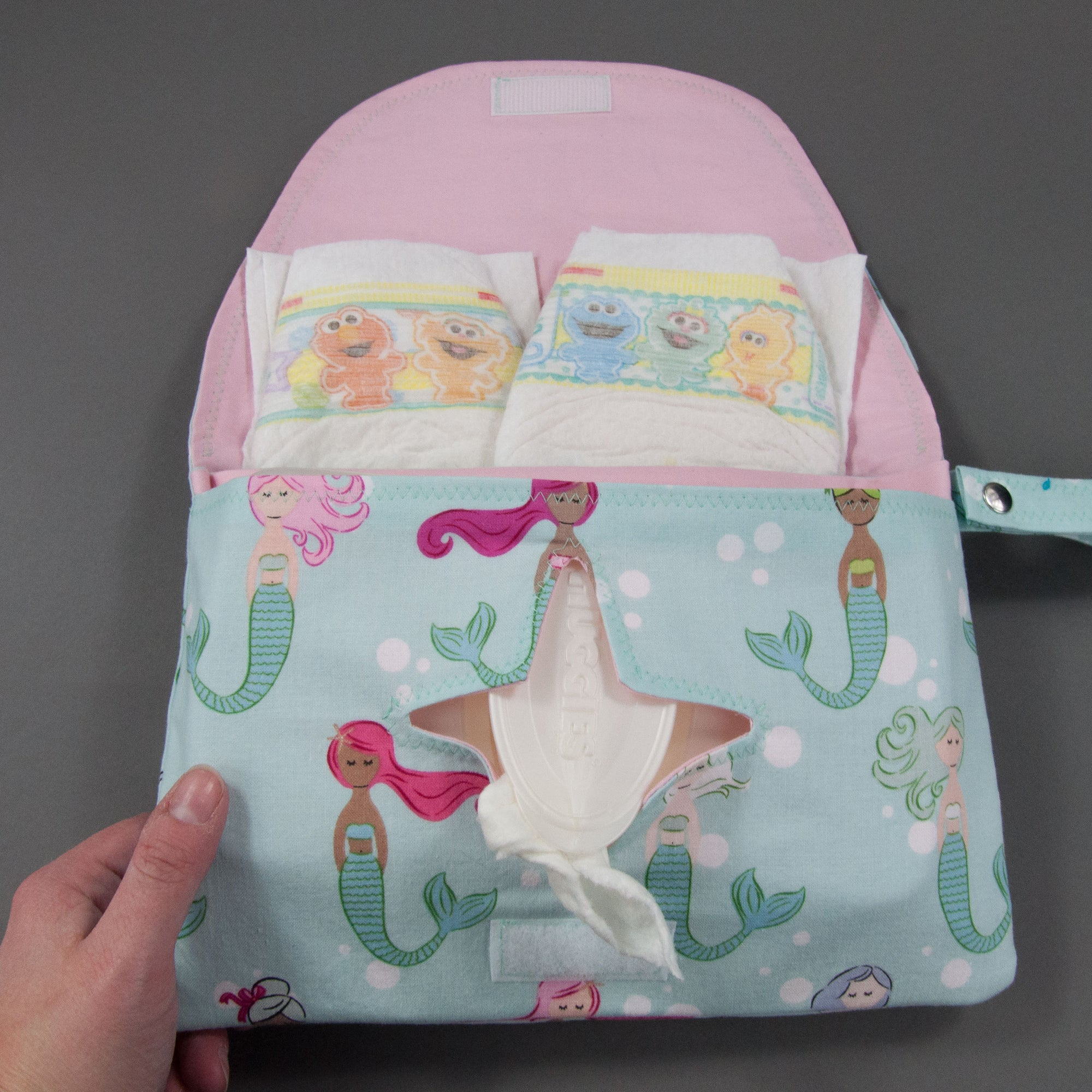 Colorful Mermaids Diaper + Wipe Clutch