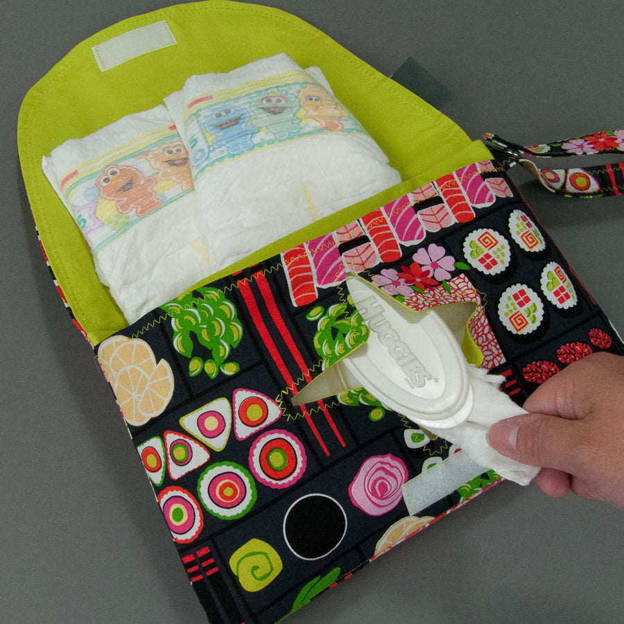Bento Box Diaper + Wipe Clutch