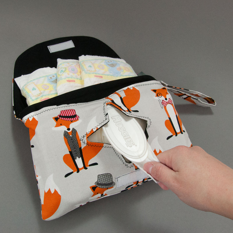 Grey Dapper Foxes Diaper + Wipe Clutch