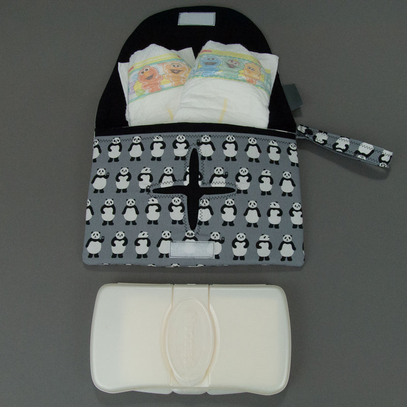 Teeny Panda Bears Diaper + Wipe Clutch, Diaper + Wipe Clutch, - MarshMueller