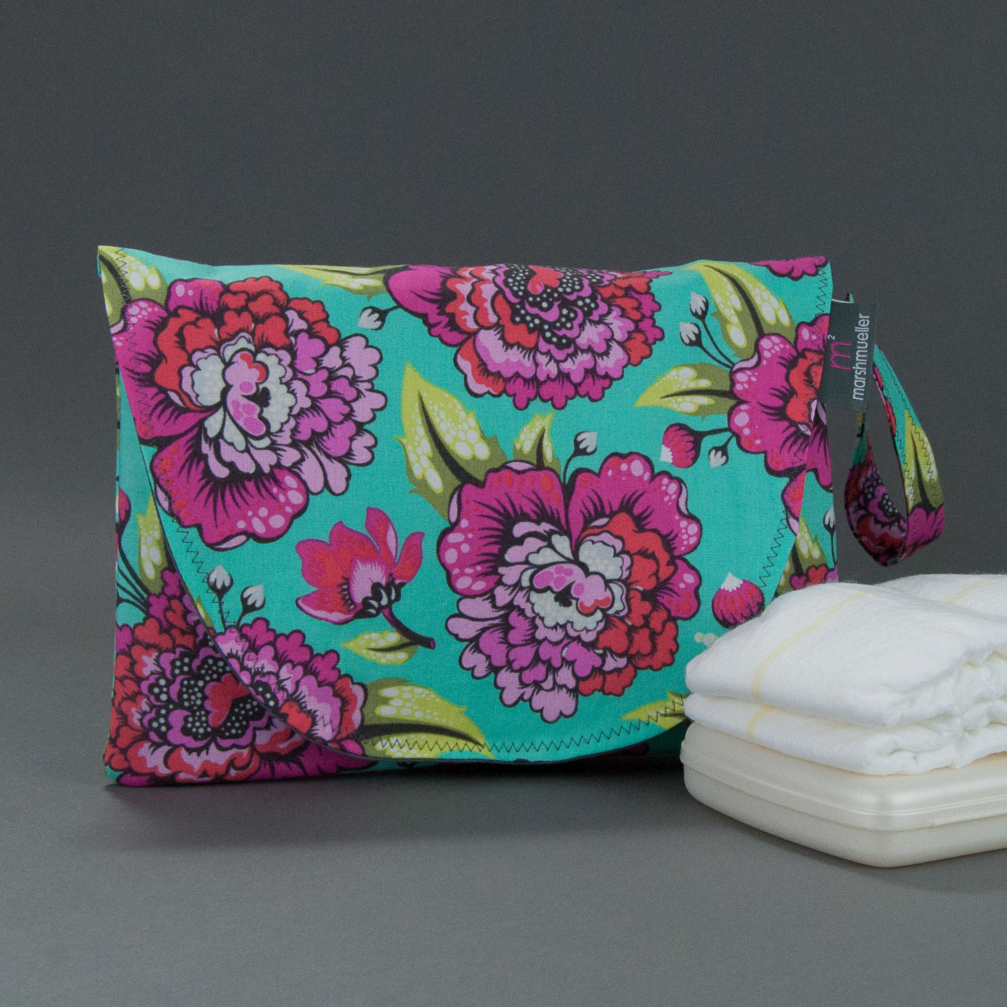 Teal Tula Diaper + Wipe Clutch