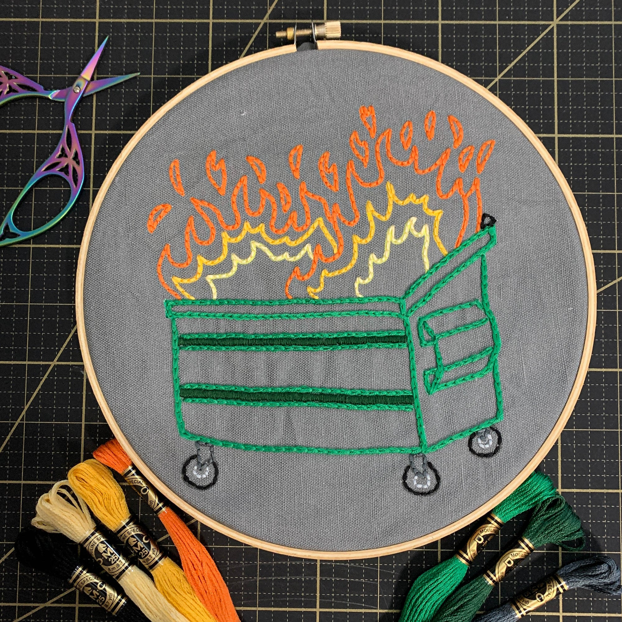 Dumpster Fire Embroidery Kit