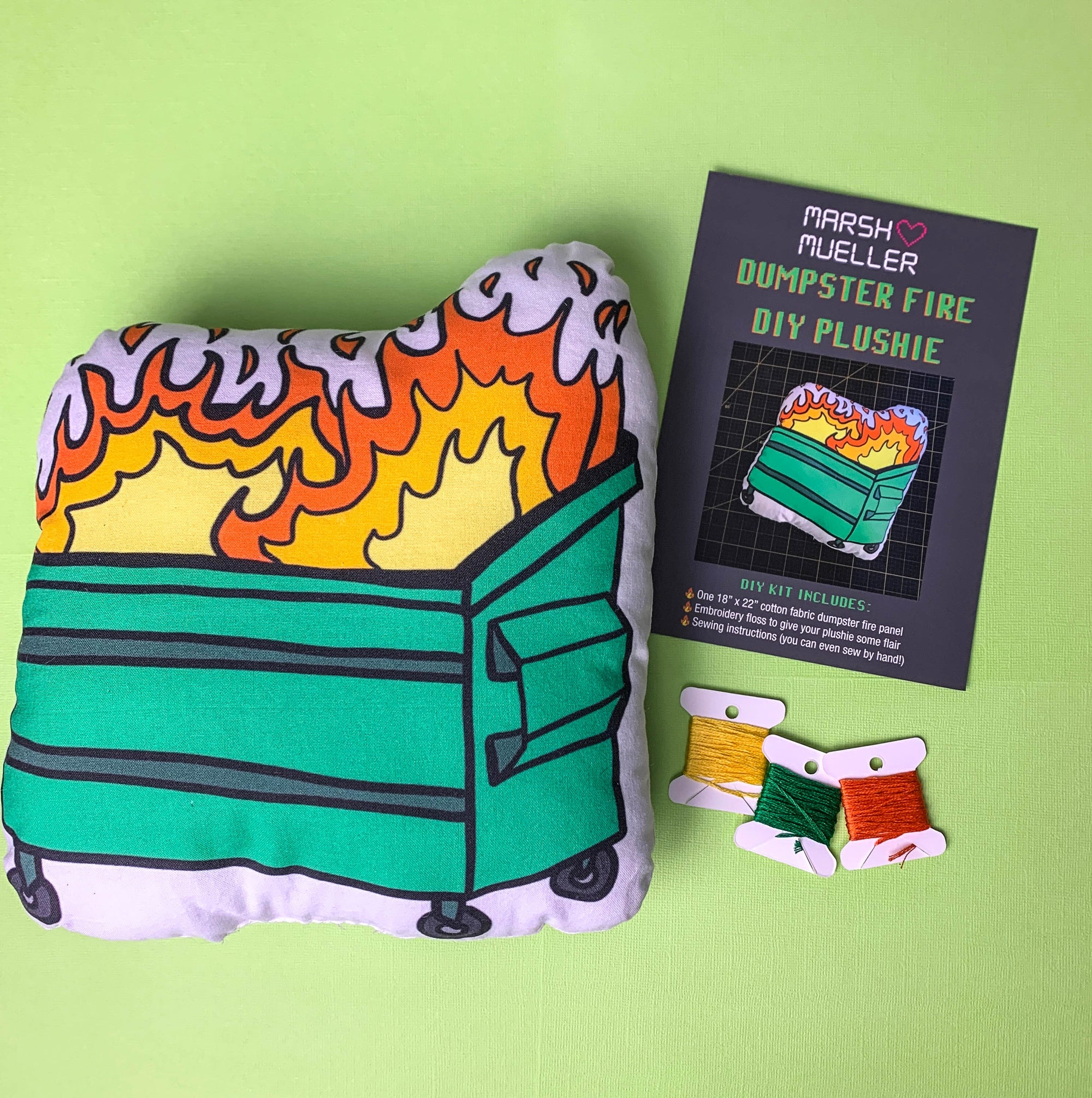 Dumpster Fire Plushie DIY Kit