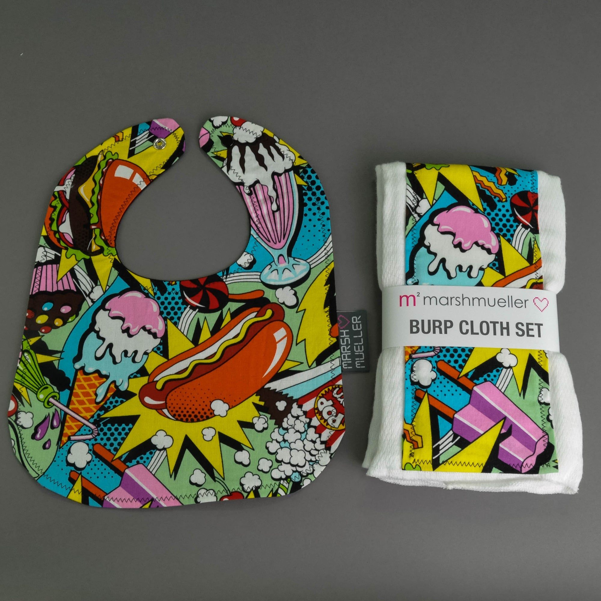 Food Fight Bib and Burp Cloth Bundle