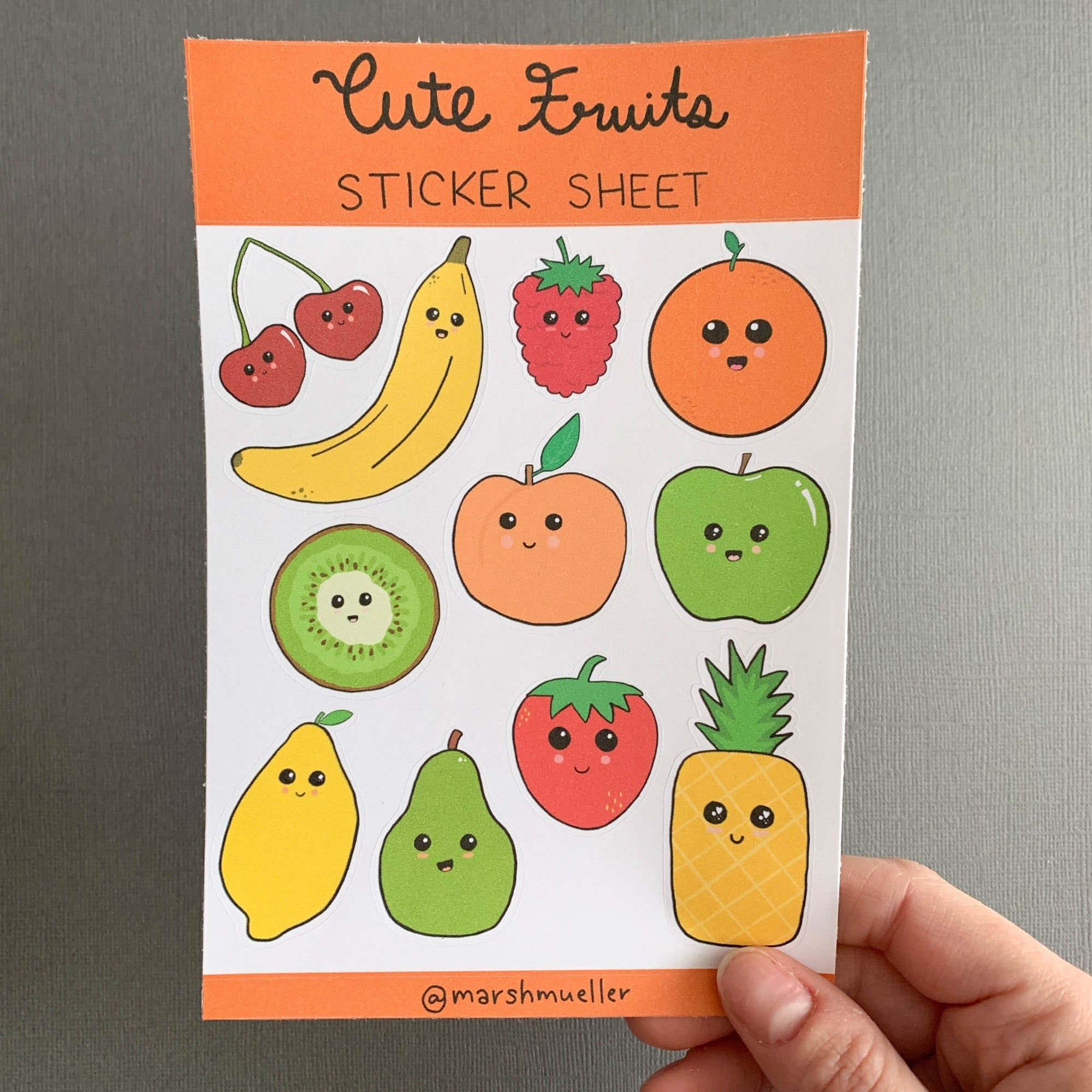 Cute Fruits sticker sheet on a grey background