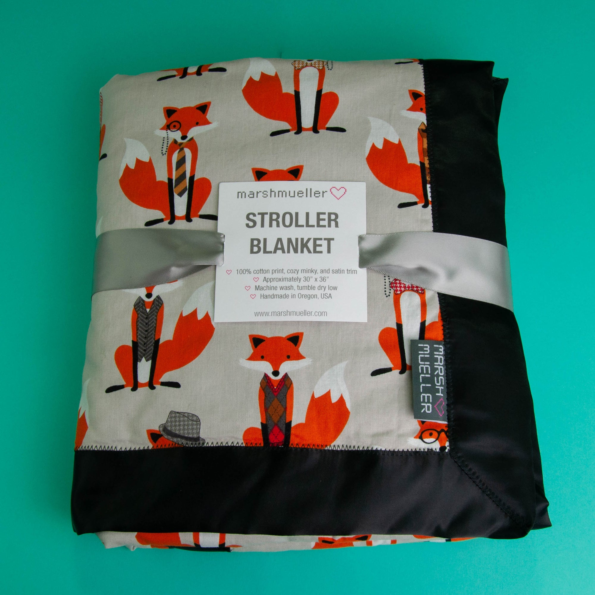 Grey Dapper Foxes Stroller Blanket