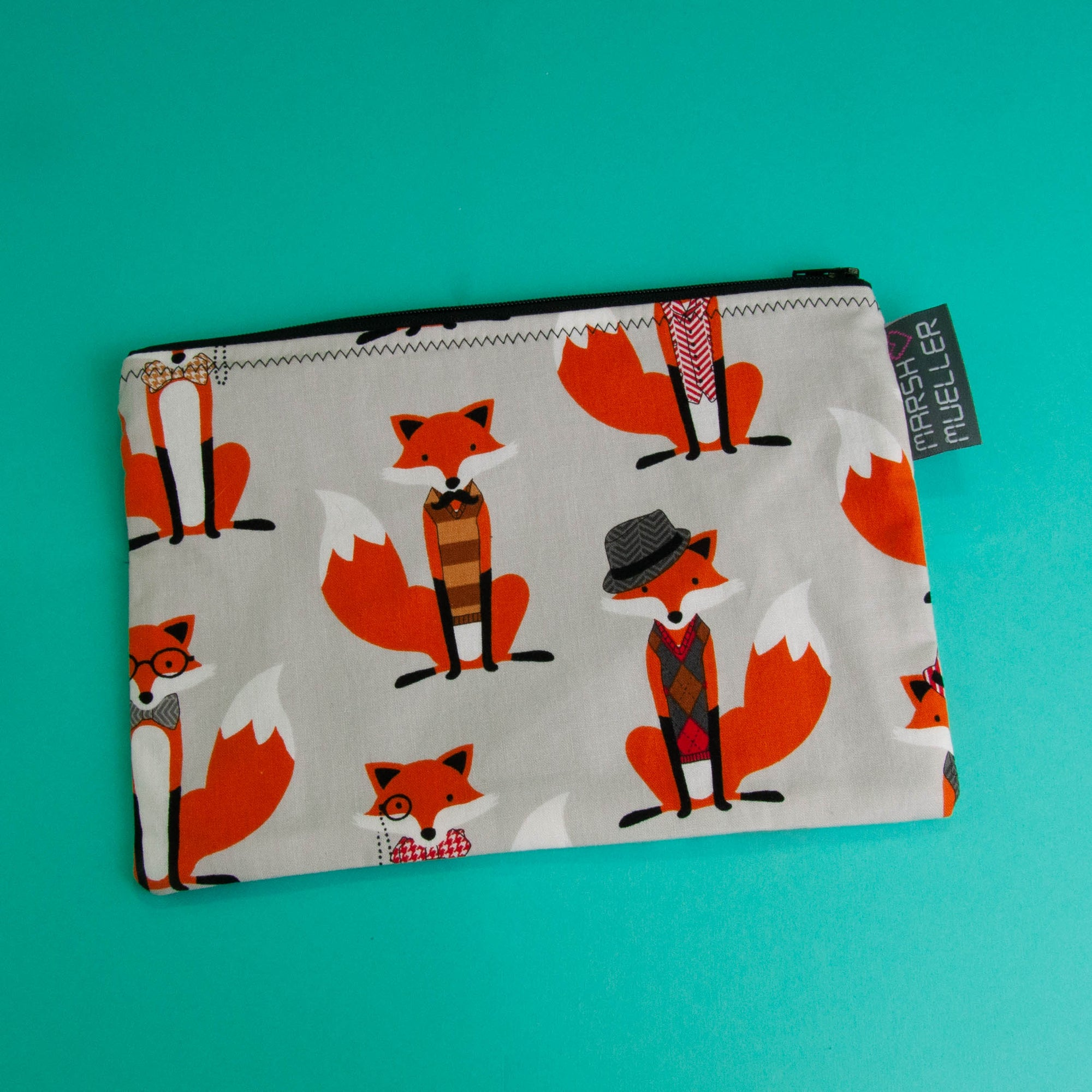Grey Dapper Foxes Zippy Bag