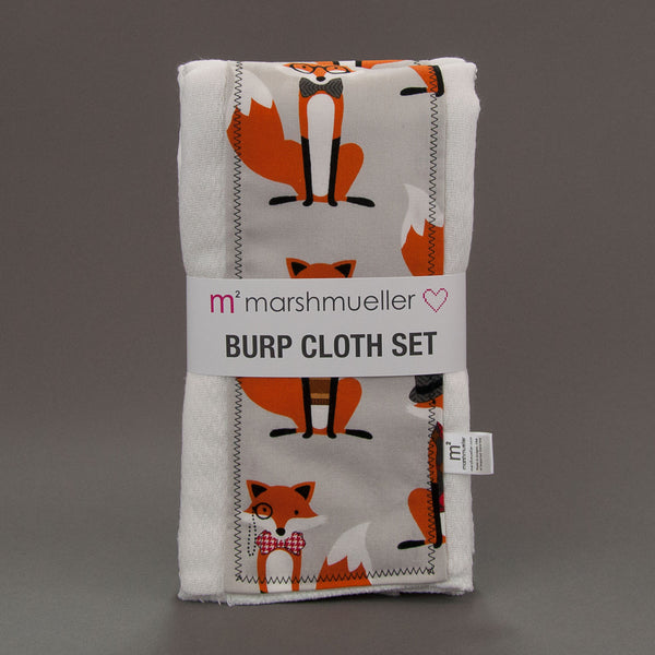 Grey Dapper Foxes Burp Cloth Set by MarshMueller