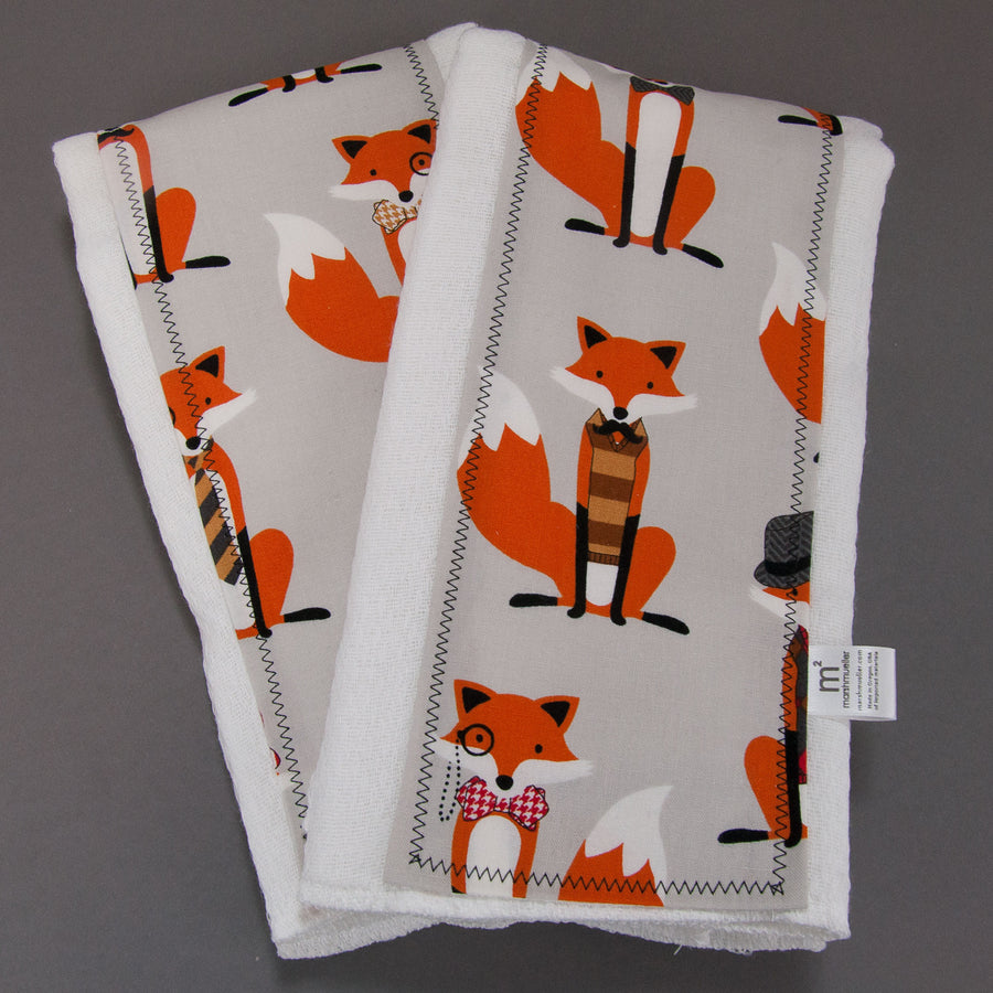 Grey Dapper Foxes Burp Cloth Set