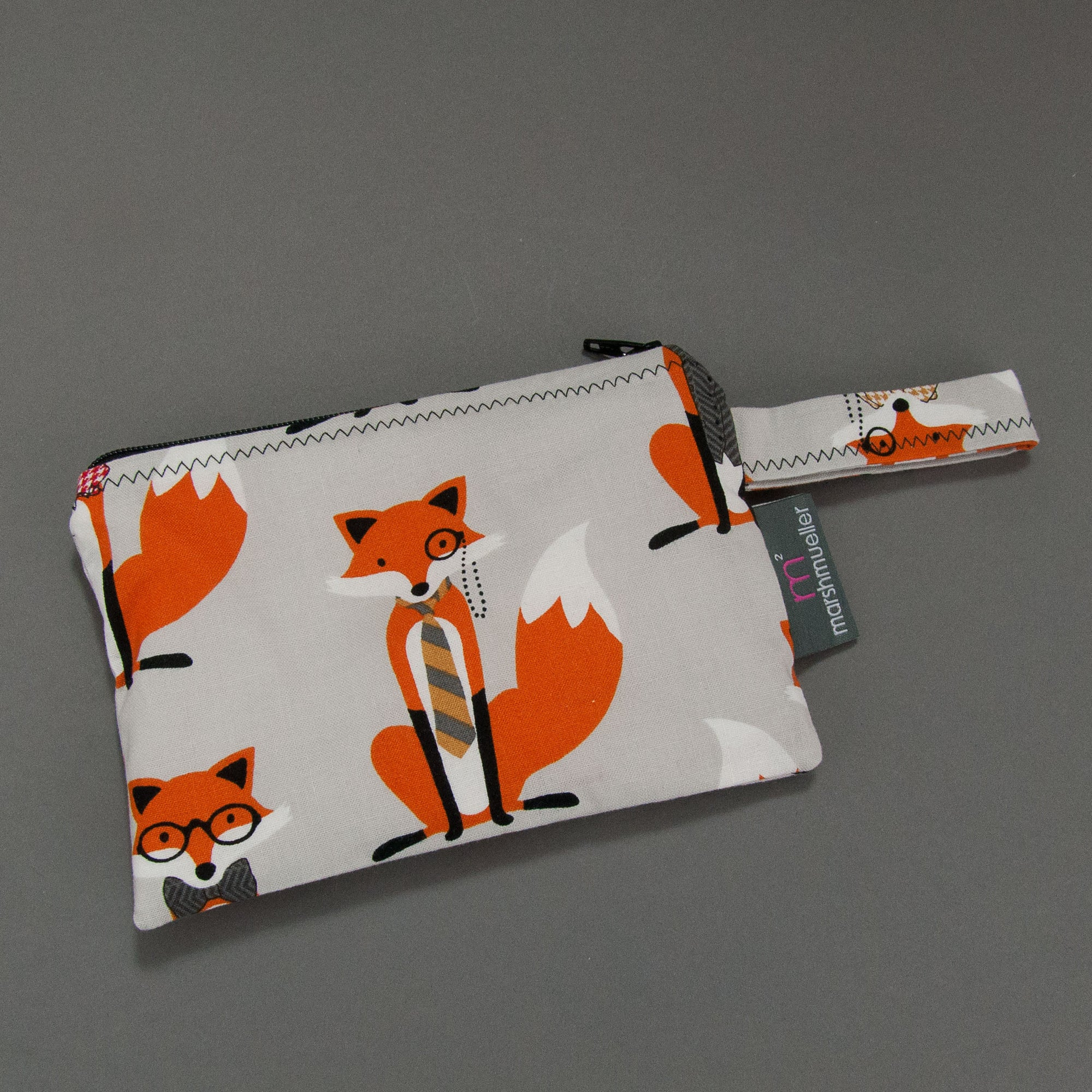 Grey Dapper Fox Reusable Snack Bag