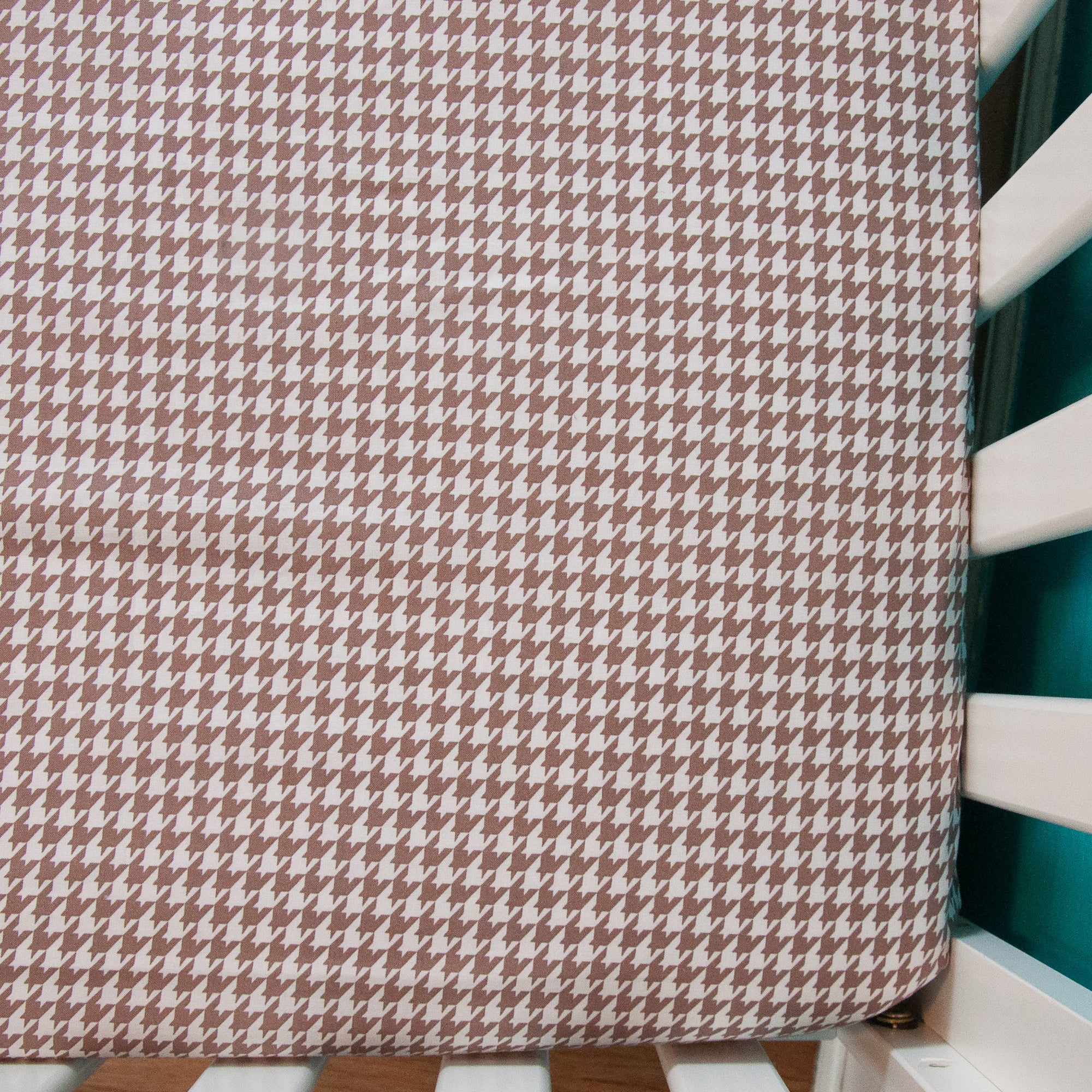 Grey Houndstooth Fitted Crib Sheet, Crib Sheets, - MarshMueller