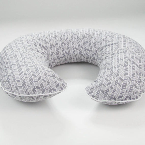 Organic Grey Herringbone Boppy Cover by MarshMueller