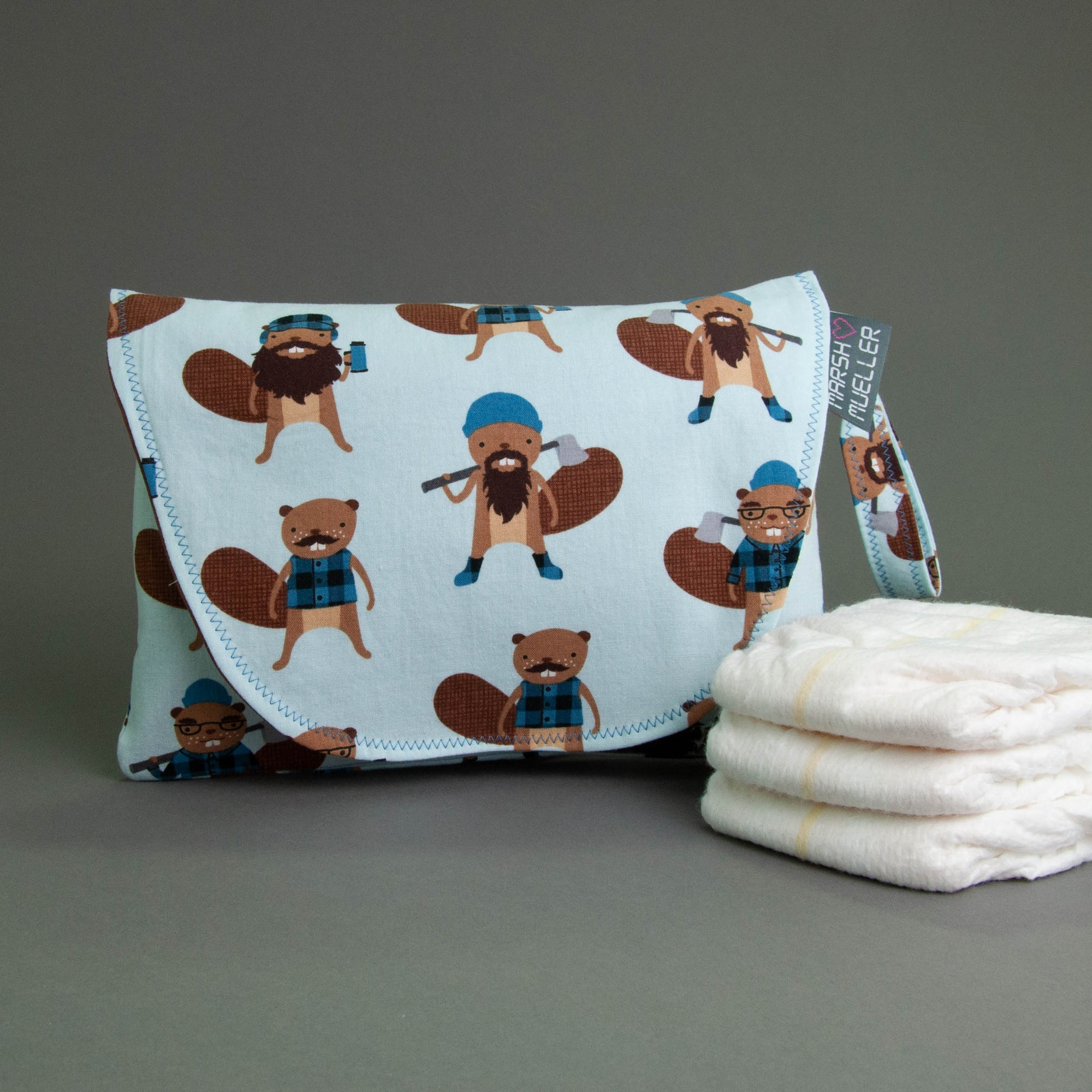 Logger Beavers Diaper + Wipe Clutch
