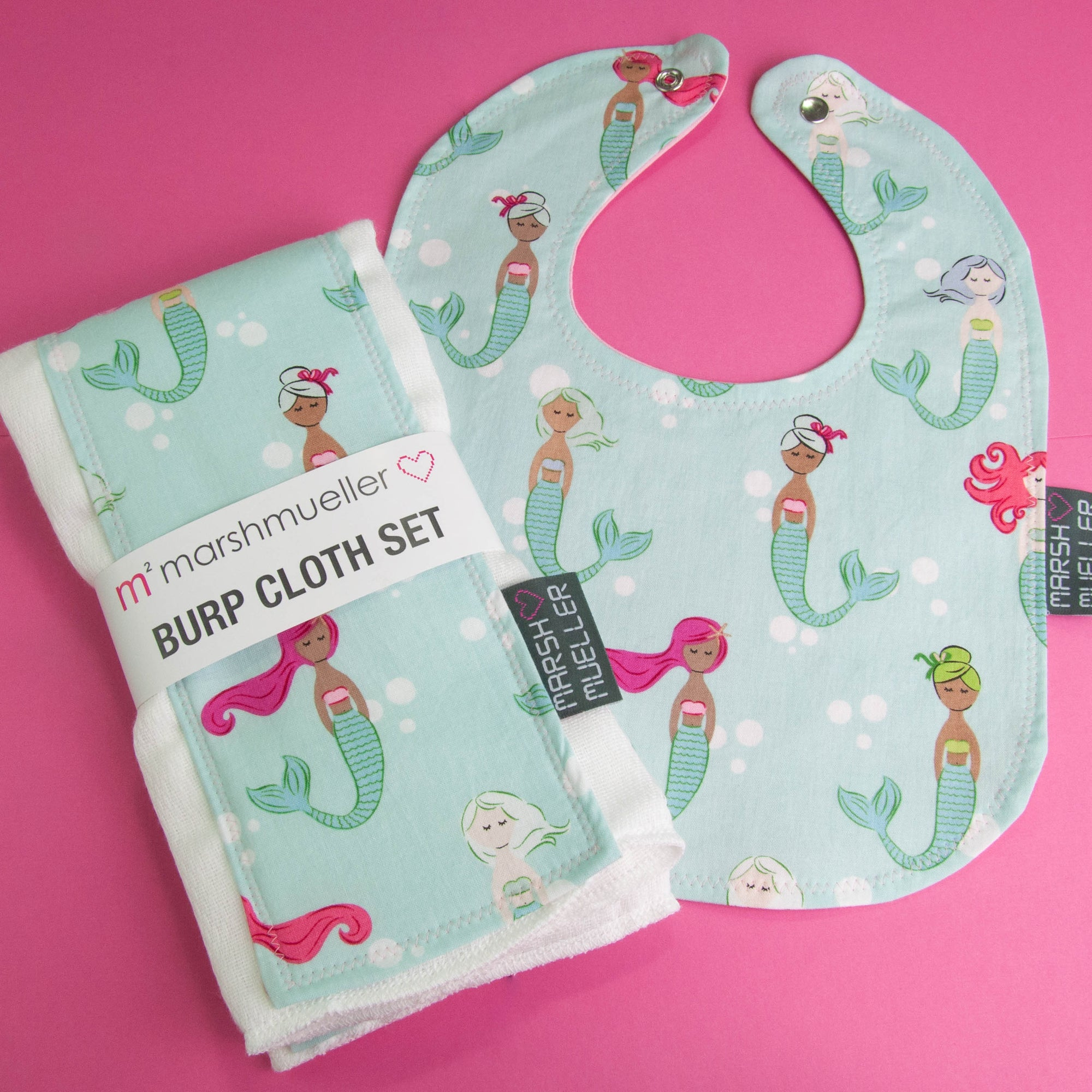 Mermaids Bib and Burp Cloth Bundle