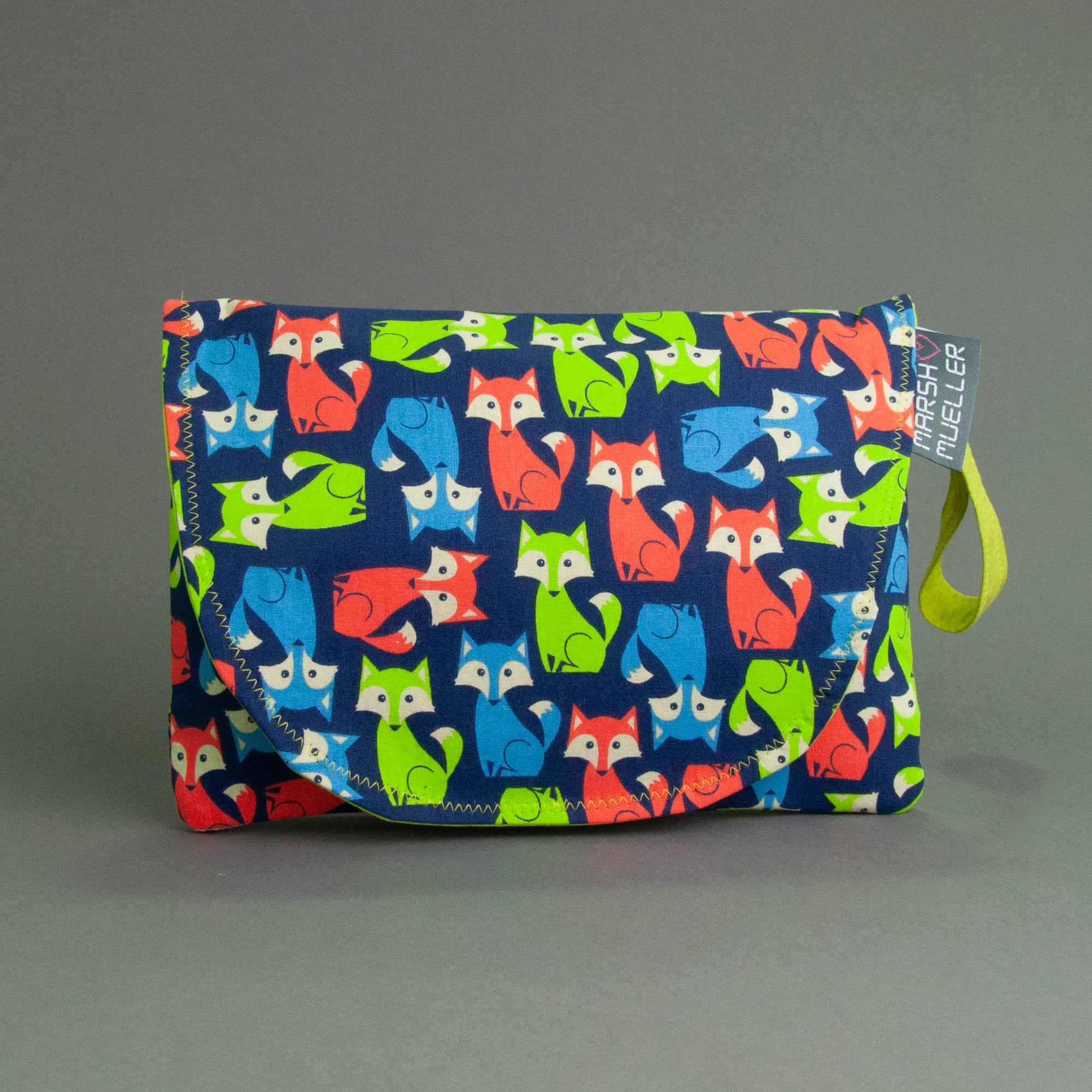 Neon Foxes Diaper + Wipe Clutch