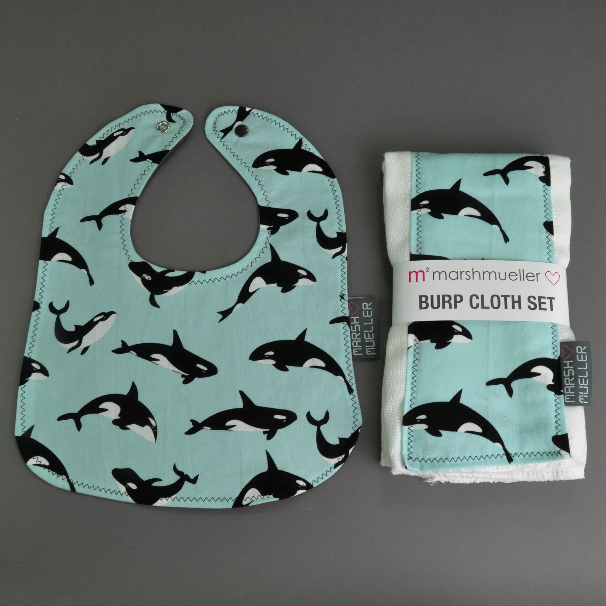 Orcas Bib and Burp Cloth Bundle