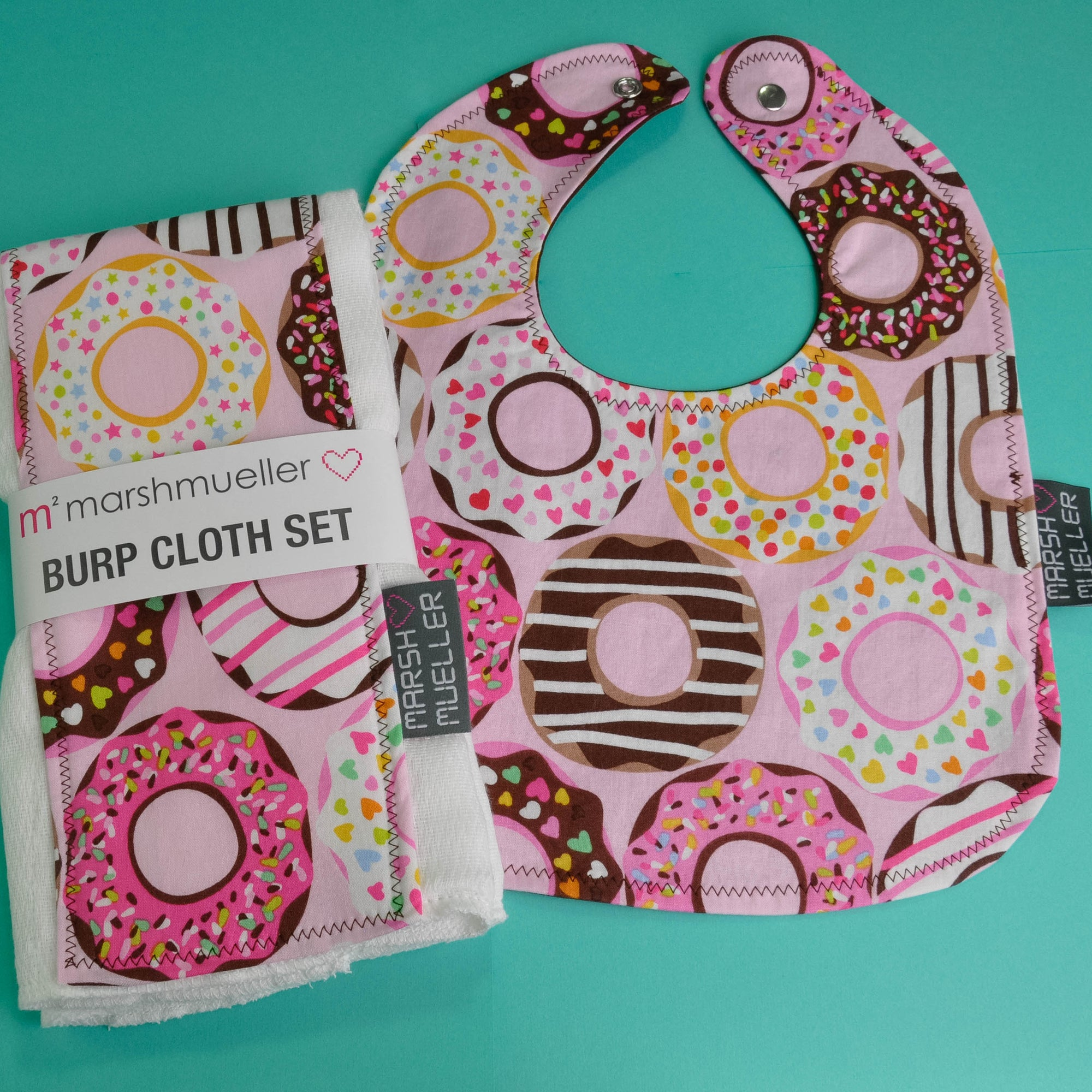 Pink Doughnuts Bib and Burp Cloth Bundle