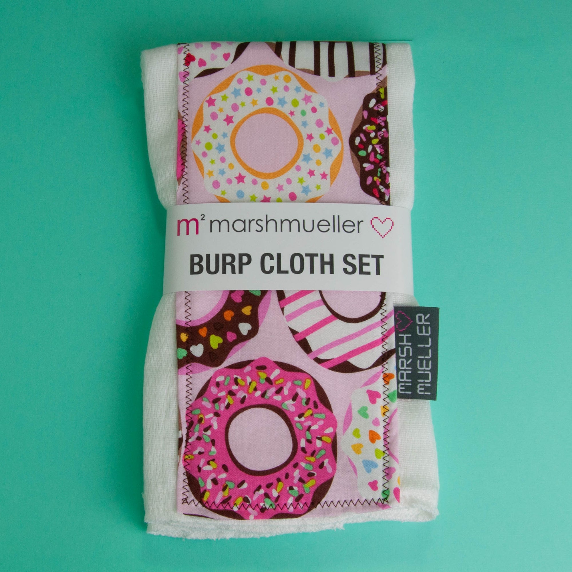 Pink Doughnuts Burp Cloth Set