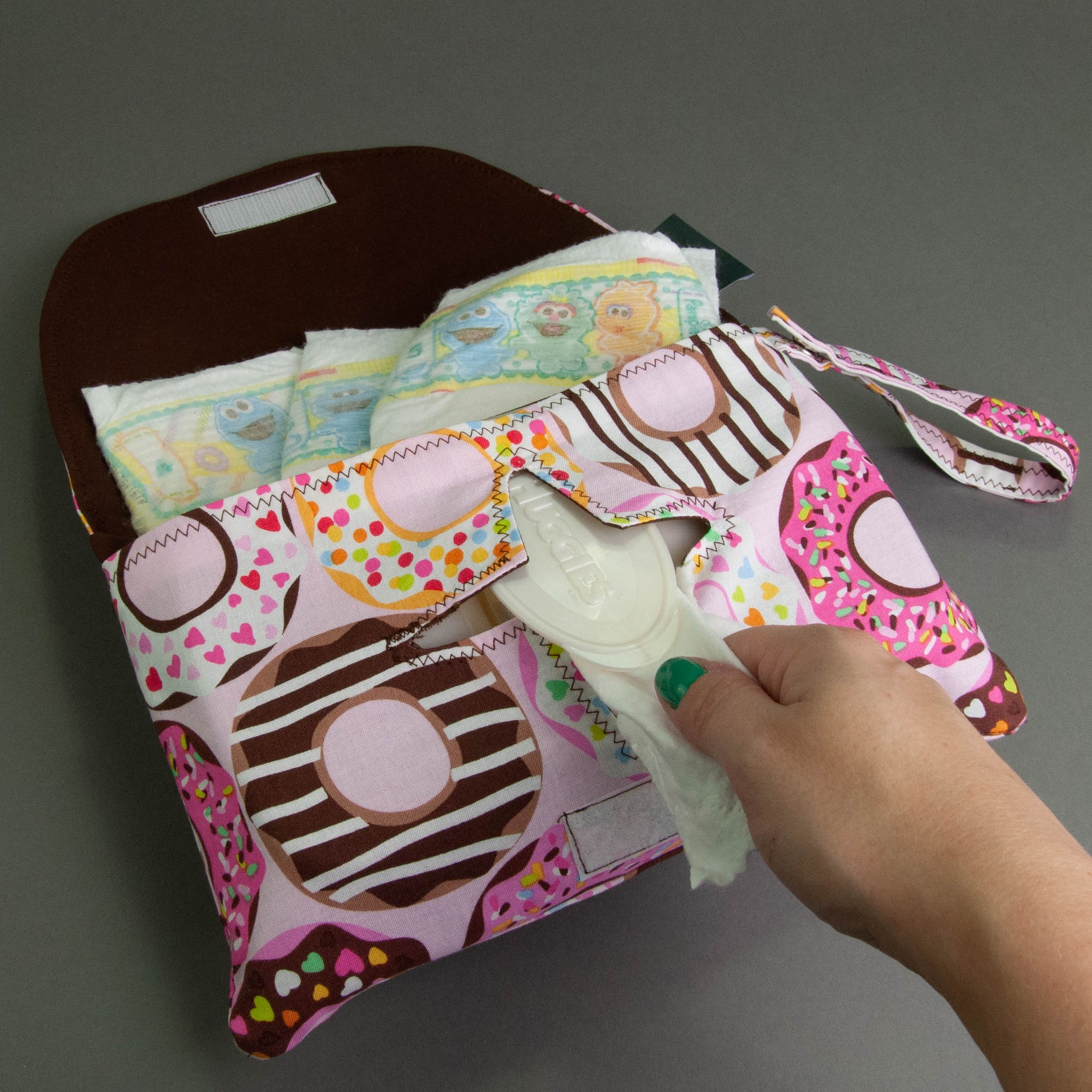 Pink Doughnuts Diaper + Wipe Clutch