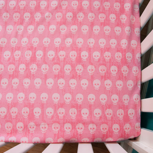 Pink Skulls Fitted Crib Sheet by MarshMueller