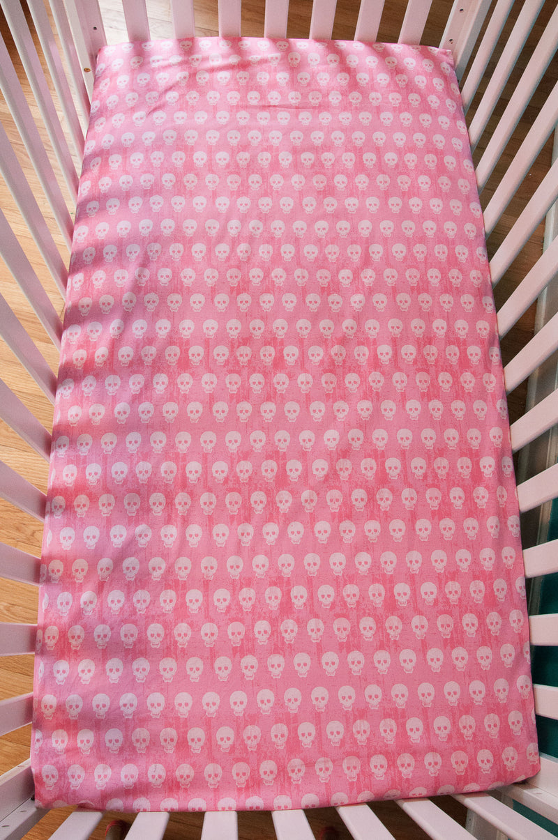 Pink Skulls Fitted Crib Sheet