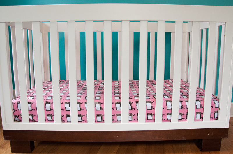 TV Party - Pink Fitted Crib Sheet