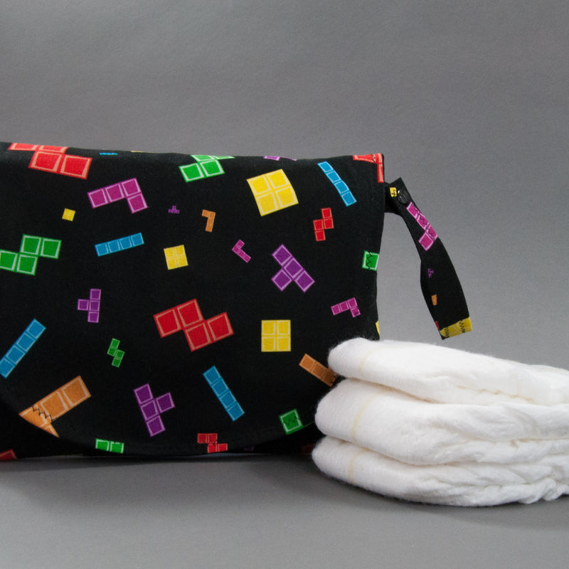 Tetris Pieces Diaper + Wipe Clutch