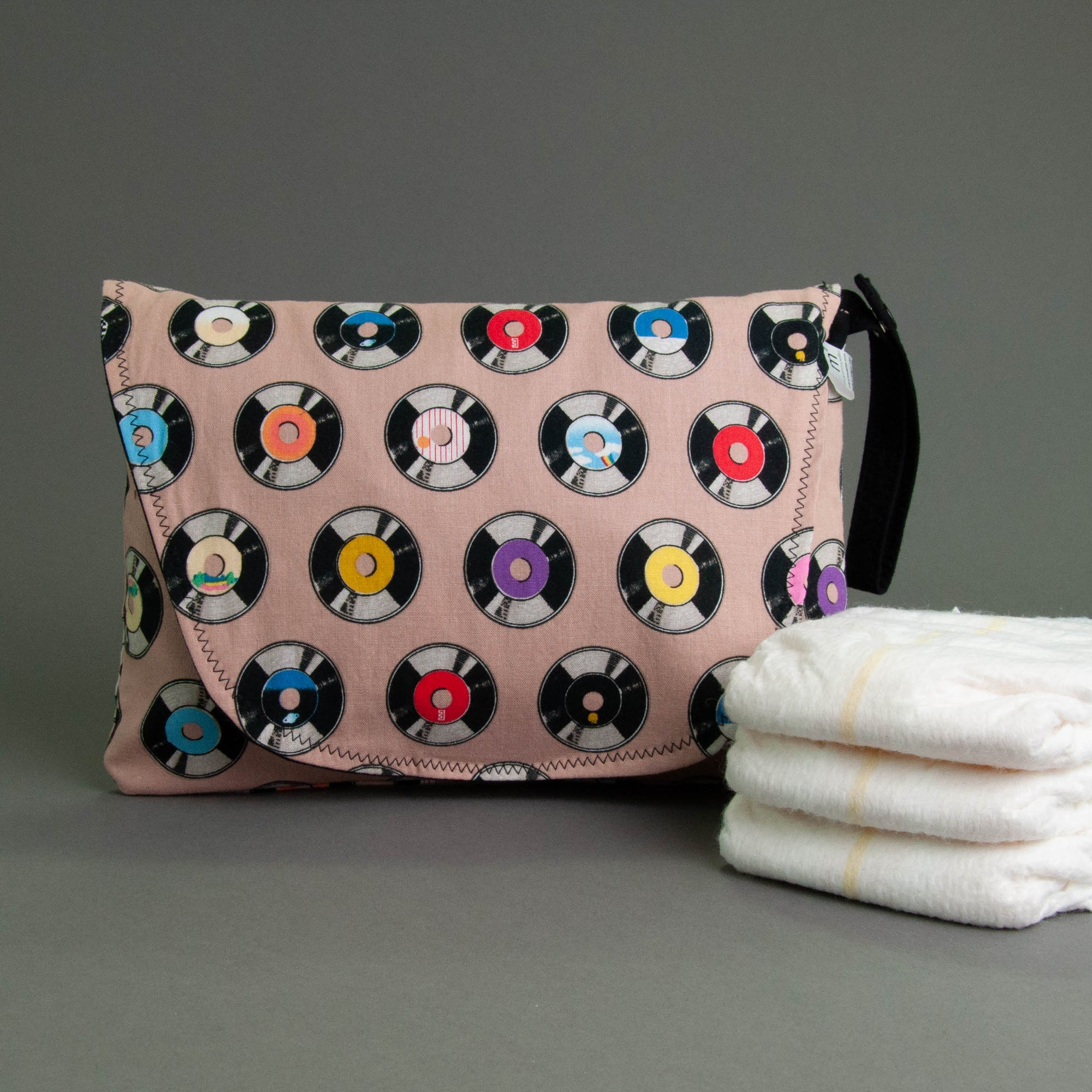 Vintage Records Diaper + Wipe Clutch