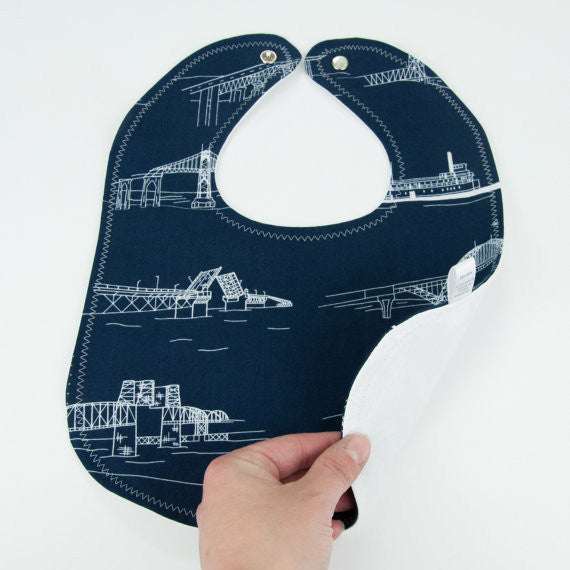 Bib with Navy Bridges by MarshMueller