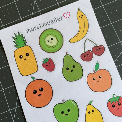 Kawaii Fruit + Veggie Stickers, , - MarshMueller