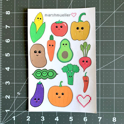 Kawaii Fruit + Veggie Stickers - MarshMueller