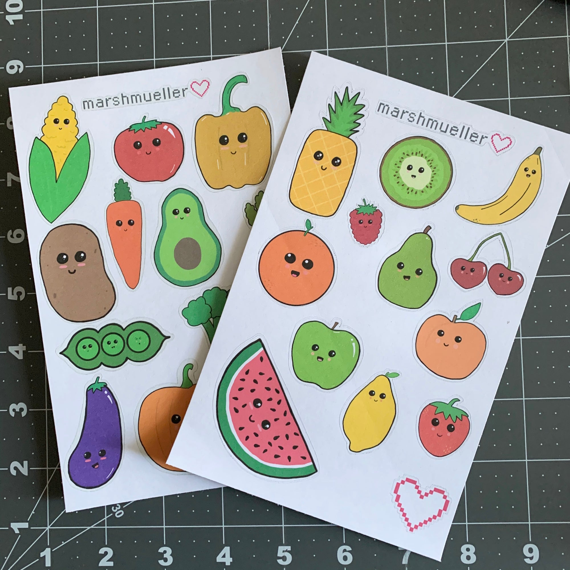 Kawaii Fruit + Veggie Stickers