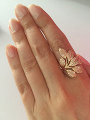 Unique rose gold leaf ring