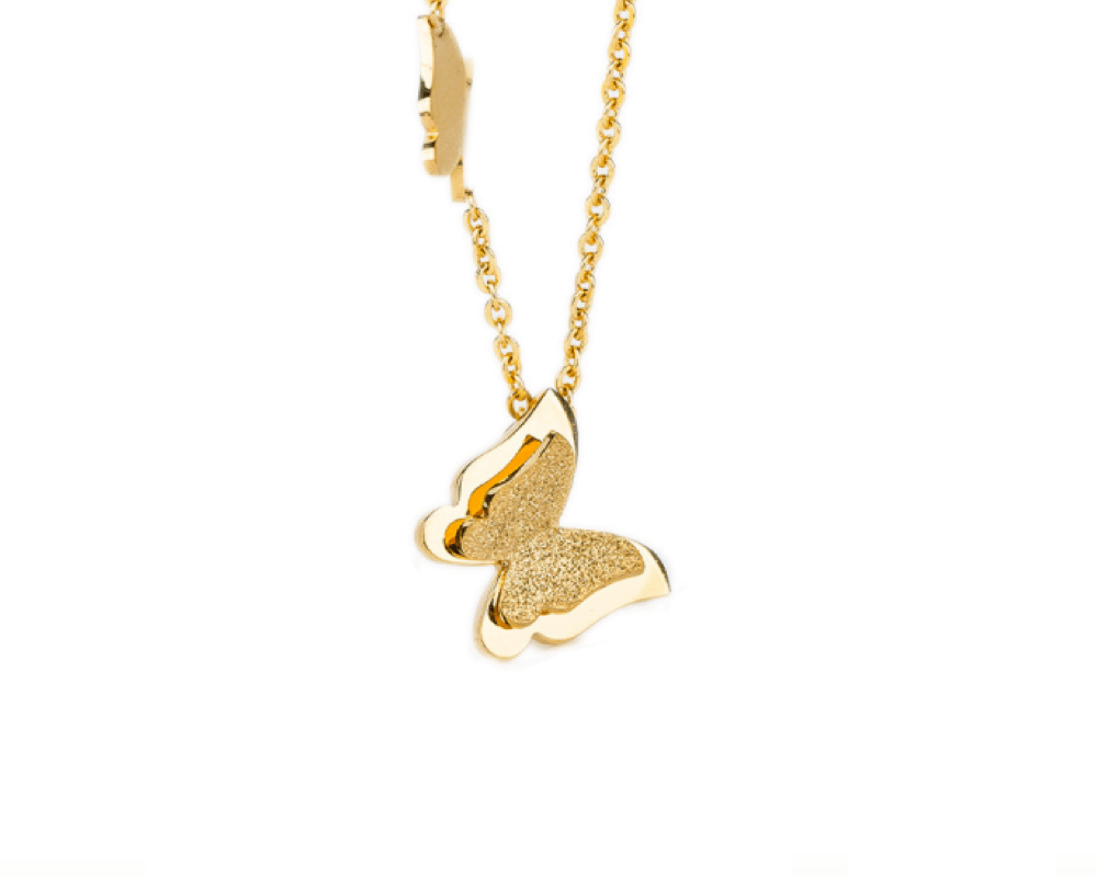 Double Butterfly Necklace in Gold - Sweet Yara